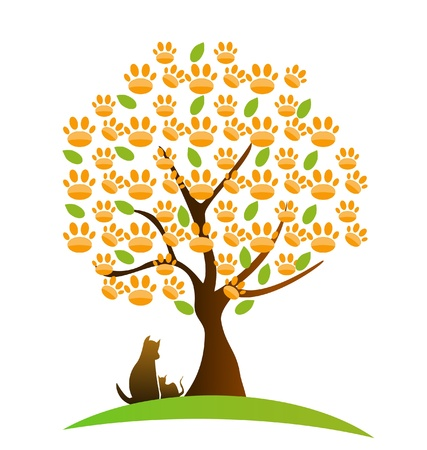 Cat ,dog and footprint tree logo vector Vector