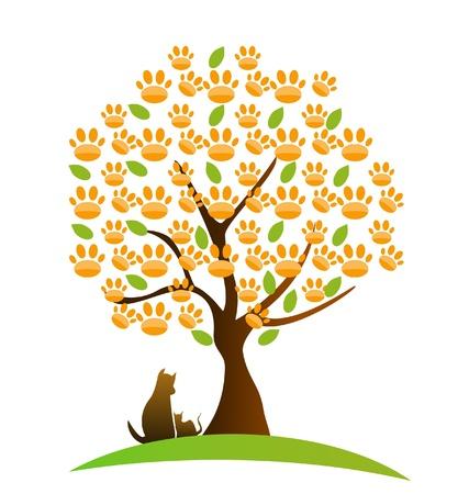 veterinarian: Kat, hond en voetafdruk boom logo vector