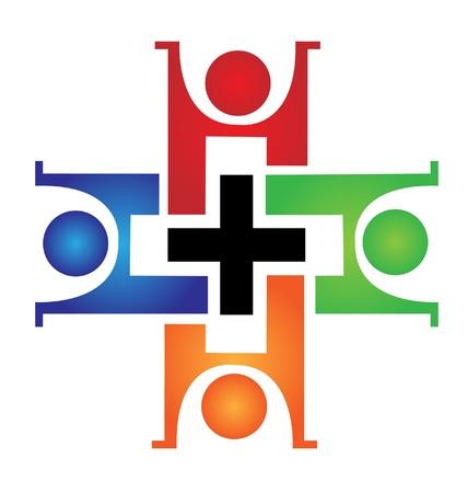 Trabajo en equipo médico logo Foto de archivo - 17810418