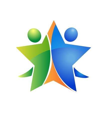 group cooperation: Happy teamwork celebration logo