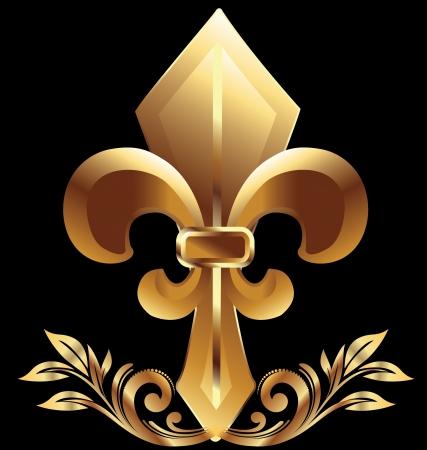 Golden  fleur de liz symbol Vector