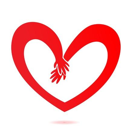 Handen en hart liefde Stock Illustratie