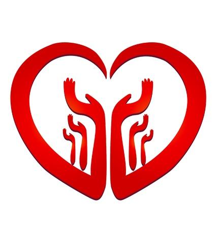 cuore nel le mani: Mani in un logo vettoriale cuore