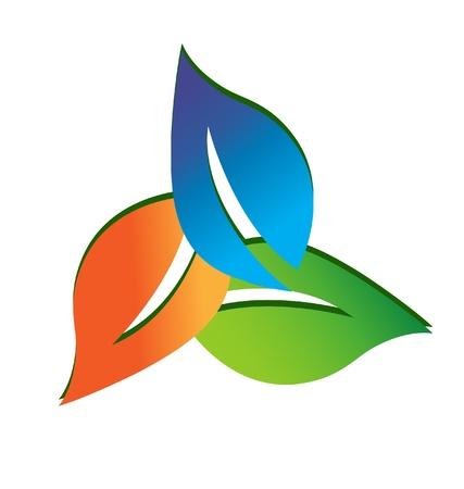 three leaf: Leaves logo vector Illustration