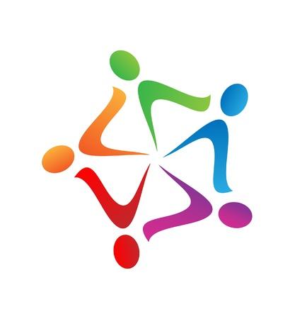 Teamwork swoosh logo vector Stok Fotoğraf - 17810434