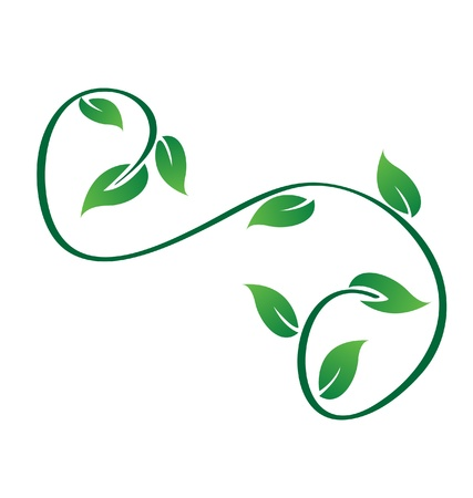 twigs: Green swirly leaves logo