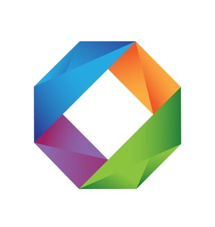 カラフルな幾何学的なロゴのベクトル