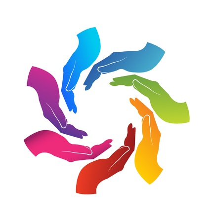 manos logo: Manos logo trabajo en equipo