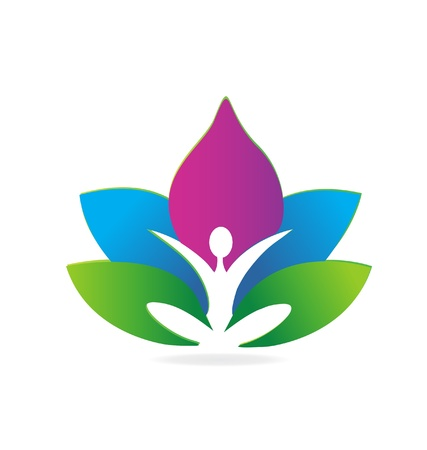 Yoga lotus meditation logo Vector