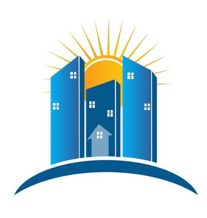 Modern Buildings with sun logo Illustration