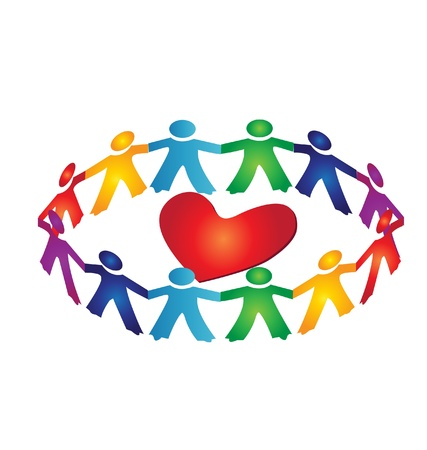 People around heart logo Vector