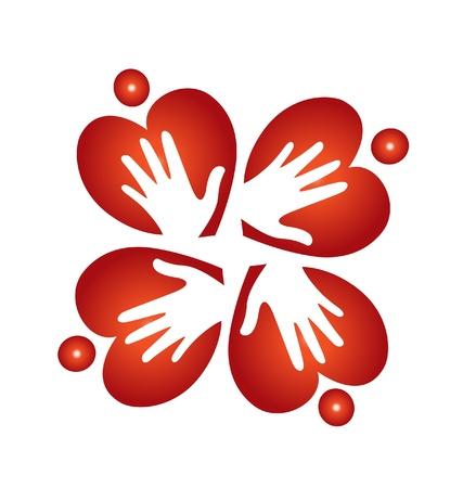 gönüllü: Takım kalpler ve eller Çizim
