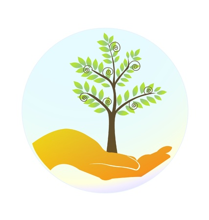 Hands protecting the trees Vector