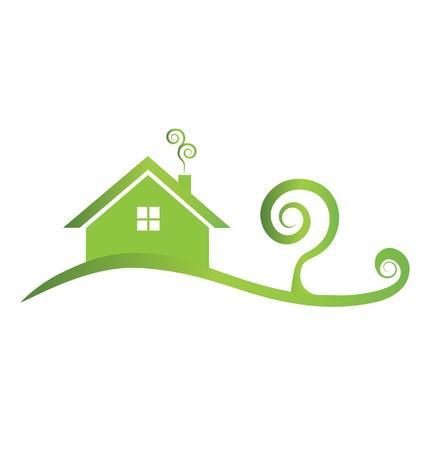 渦巻き模様の緑の家