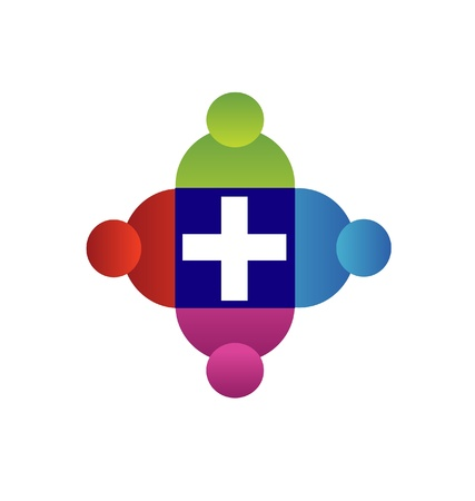 community health care: Teamwork with a cross logo