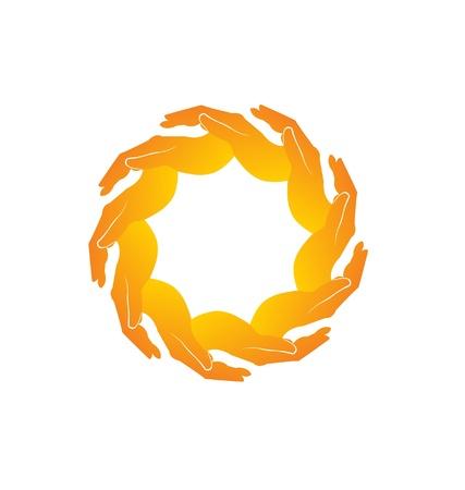 Teamwork hands logo Stock Vector - 18150319