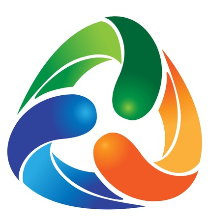 recycle logo: Ecological recycle with vivid colors logo