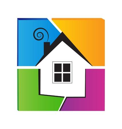 Huis en gekleurde muur logo Stock Illustratie