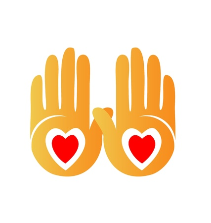 Hands showing hearts logo 向量圖像