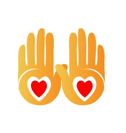 manos logo: Manos que muestran logo corazones