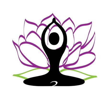 man meditating: Yoga and lotus flower logo