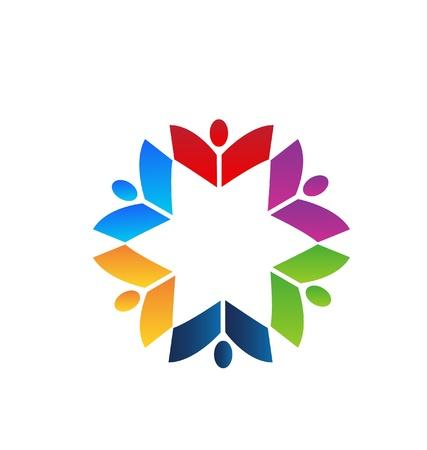 identidad cultural: Trabajo en equipo libros logotipo de color Vectores
