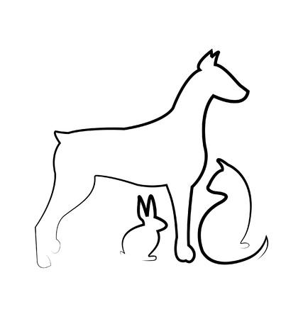 Dog, cat ,and rabbit logo  Illustration