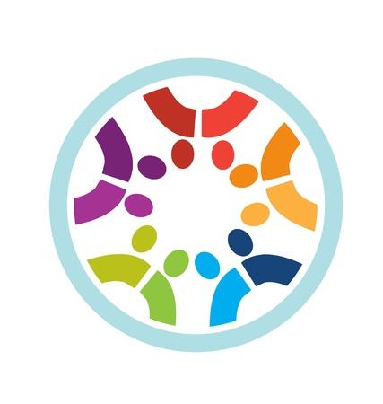 Circle of social people logo in nice colors Ilustração