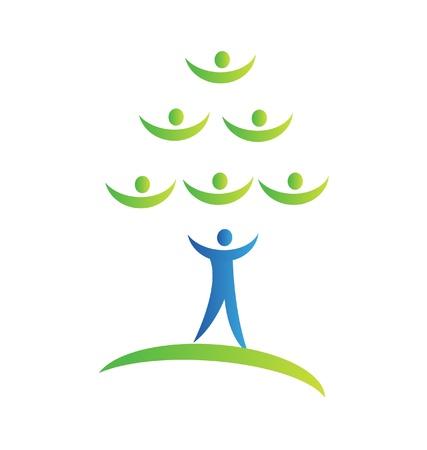 Lidé strom jako tým logo vektor