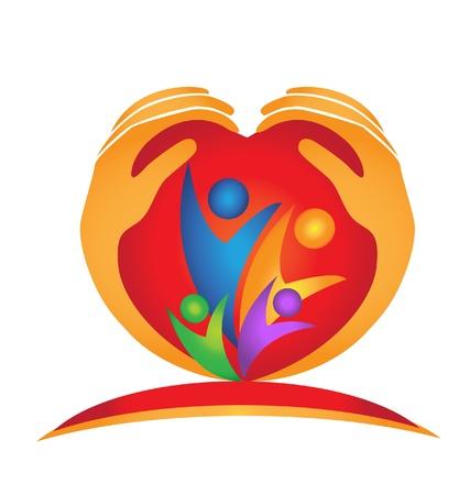 Family, hands and heart shape logo