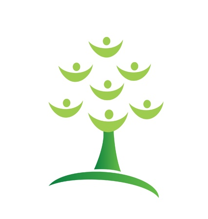 Green tree teamwork logo Vector