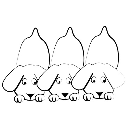 Puppies dogs silhouettes logo Vector