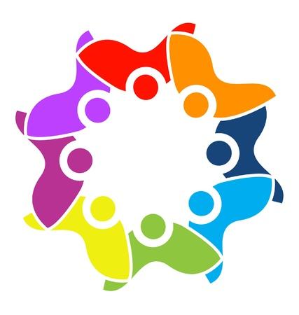 multicultural group: Teamwork unity logo vector