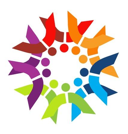 multicultural group: Teamwork couples logo vector