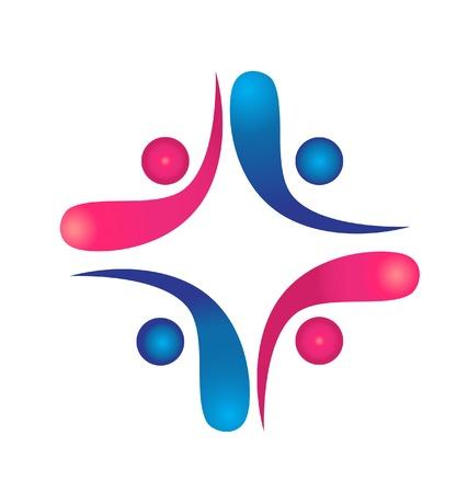 conection: Trabajo en equipo swooshes logo