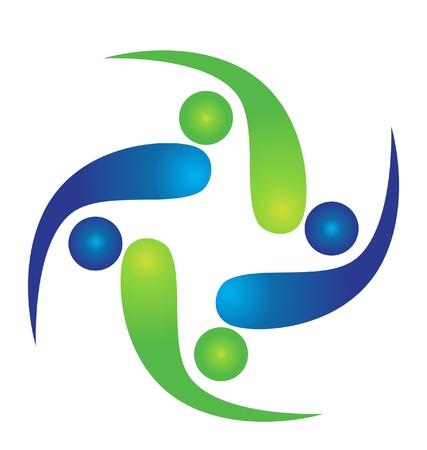 conection: Equipo de logotipo swooshes Vectores