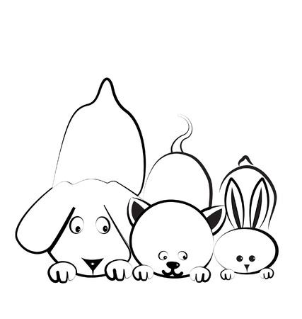 veterinarian symbol: Cane, gatto e coniglio logo Vettoriali