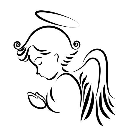 REZANDO: Ángel orando logo Vectores