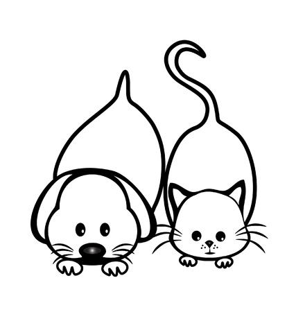 Katze und Hund Silhouetten Logo-Design Standard-Bild - 18399260