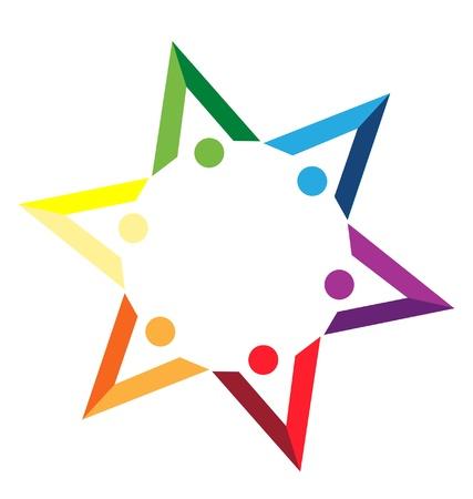 societies: Teamwork books star shape logo Illustration