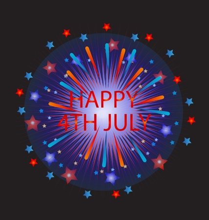 Happy 4th of July Fireworks Vector