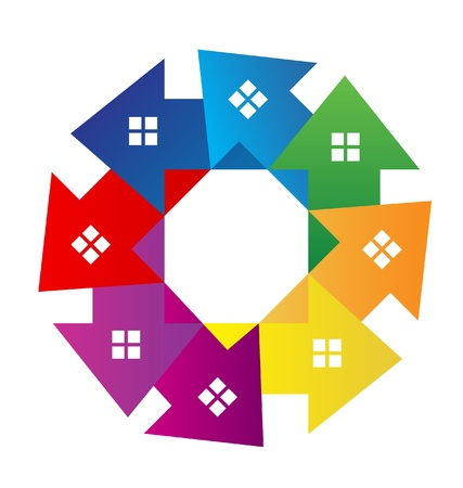 Houses around logo vector Stock Vector - 18507515