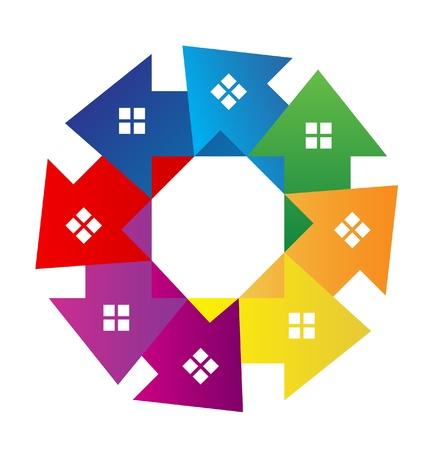 Huizen rond logo vector