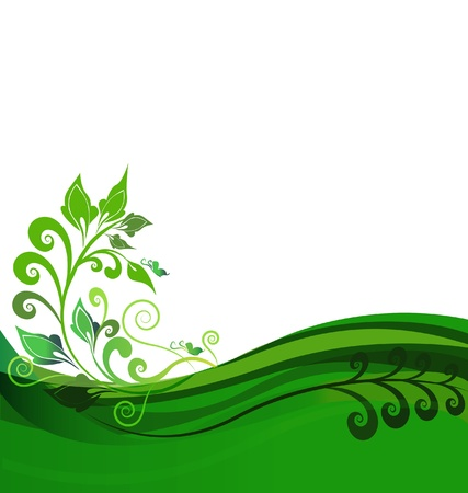 Green floral background design Vector