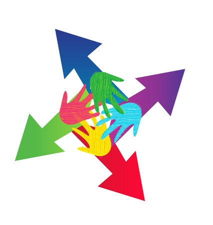 Arrows and painted hands logo vector