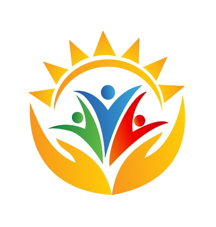 teamwork together: Teamwork hands and sun logo vector