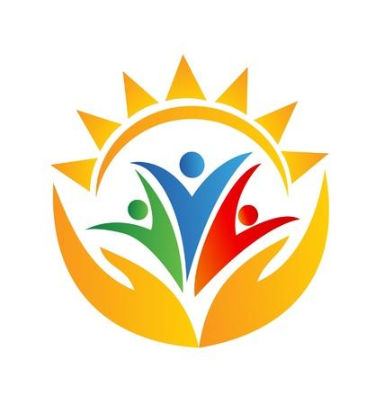manos logo: Trabajo en equipo manos y sol vector logo