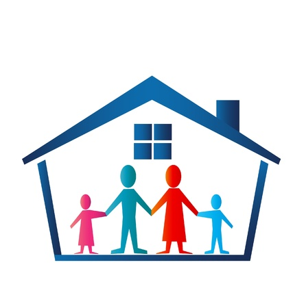 Familie in huis logo vector Stock Illustratie