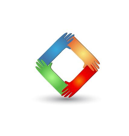 mano de dios: Helping Hands vector logo Vectores