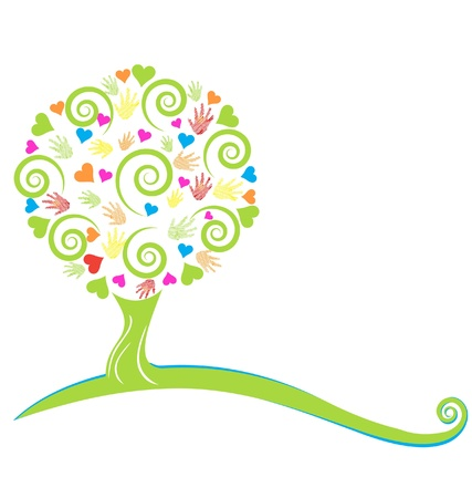 "tree"": Tree ,hearts ,hands and swirly leaves logo Illustration"